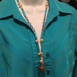 Antique Turquoise Glass Necklace